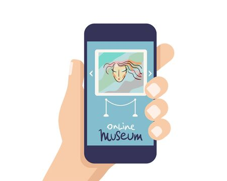Interactive museum exhibition. smatphone. Virtual Museum and Art GalleryTours in Smartphone. Online Tours. Vector flat concept