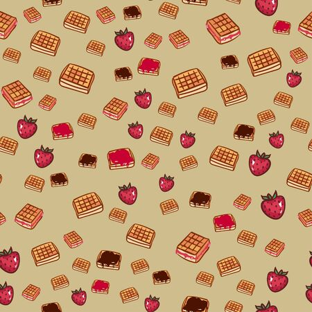 cute cartoon seamless pattern with waffle with chocolate and strawberries. friendship concept. childrens vector illustration. Textured background for poster, card, textile, wallpaper template.