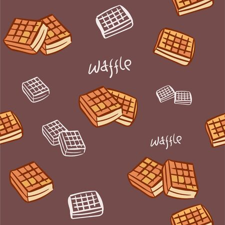 cute cartoon seamless pattern with waffle. friendship concept. childrens vector illustration. Textured background for poster, card, textile, wallpaper template.