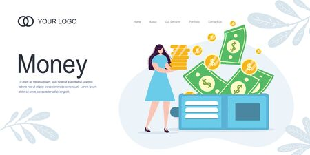 Landing page Girl girl holds coins. Savings and investing money. Finance, Investment. woman take Money. for Jar Making Saving, Deposit Web Page Banner. Cartoon Flat Vector Illustration Illustration