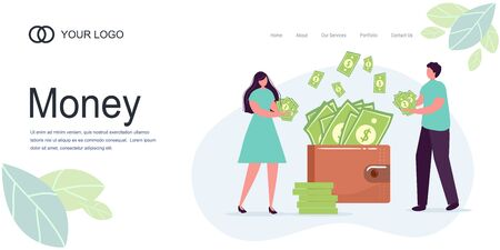 Landing page Girl man, woman hold money, dollars, wallet lot of money. Savings, investing money. Finance, Investment. for Jar Making Saving, Deposit Web Page Banner. Cartoon Flat Vector Illustration.