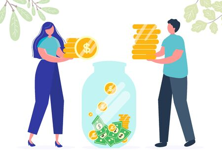 Girl man are holding coins. Savings investing money. Finance, Investment. jar, piggy bank with money, woman take Money. for Jar Making Saving, Deposit Web Page Banner. Cartoon Flat Vector Illustration Illustration