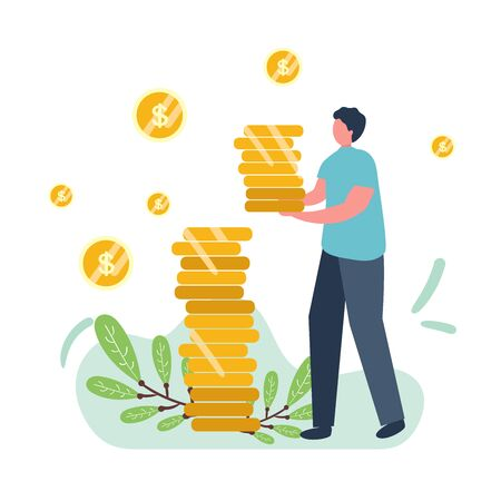 man holds coins. Savings and investing money. Finance, Investment. man take Money. for Jar Making Saving, Deposit Web Page Banner. Cartoon Flat Vector Illustration