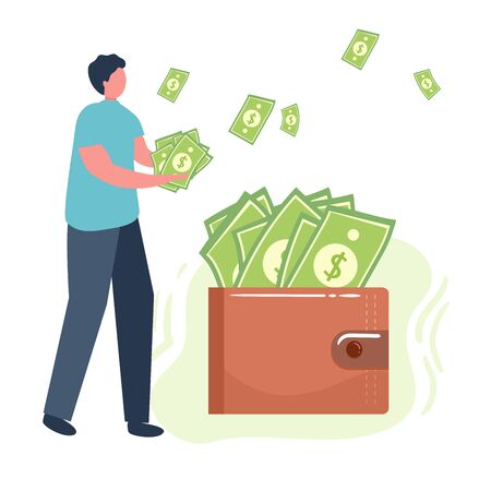 man hold money, dollars, wallet lot of money. Savings, investing money. Finance, Investment. for Jar Making Saving, Deposit Web Page Banner. Cartoon Flat Vector Illustration Illustration
