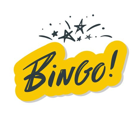 Bingo. Lettering Beautiful greeting card scratched calligraphy blue text word.Hand drawn invitation T-shirt print design.Handwritten modern brush lettering yellow white background isolated vector.