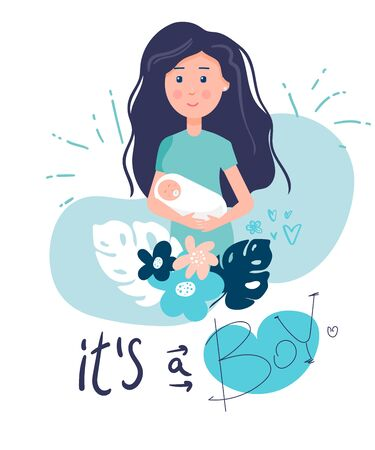 mom with a baby in her arms. it's a boy. Poster Vector illustration of cute young woman with boy baby, her baby gender. newborn boy. Flat,