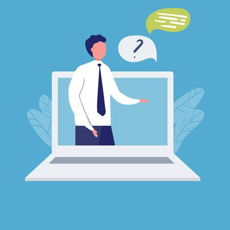 Happy operator on laptop screen flat vector illustration on blue background. man on laptop answers question. consulting, job online, internet. Call center. help. online consultant Illustration