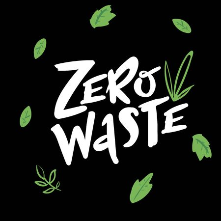 Zero waste handwritten text with green leaves isolated on black background. Zero landfill concept illustration in cartoon style