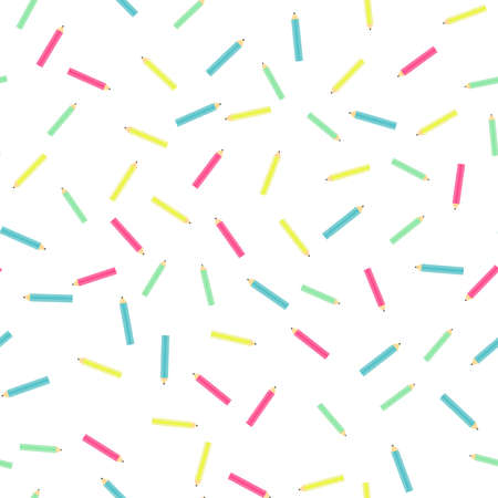 Back to school. Colorful pencil, stationery supplies seamless pattern. flat on white Illusztráció
