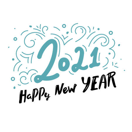 2021 Happy New Year. lettering typography text isolated on white background. Happy New Year. Vector greeting card design template for winter holidays,