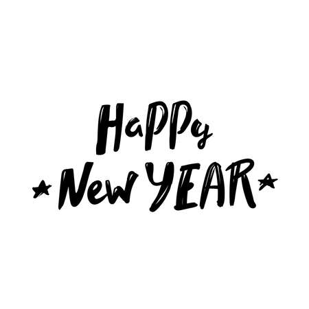 Happy New Year. lettering typographic text isolated black on white background. Vector greeting card design template for winter holidays