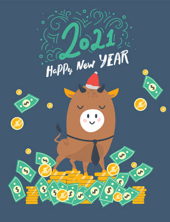 greeting card, poster, banner, postcard. Happy New Year. the bull with money. Year of the bull. 2021. Funny bull character on a blue background.