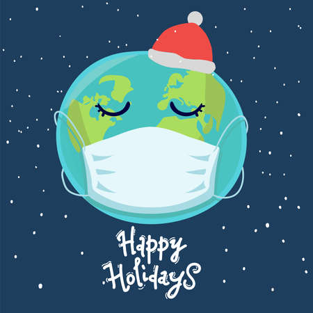 Planet Earth in medical mask on blue. Happy holidays, lettering. Pandemic Christmas concept. Vector illustration Illusztráció