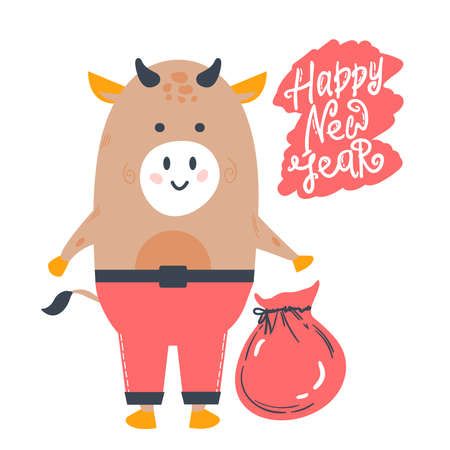 year of the bull postcard. Year of the bull. 2021. Happy New Year. Funny bull character on a white background. New year greeting card, poster Illusztráció