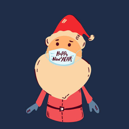 Santa Claus in medical mask. Vector illustration. Illusztráció