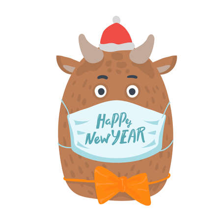 year of the bull postcard. Year of the bull. 2021. Happy New Year. Funny bull character in medical mask on a white background. New year greeting card, poster