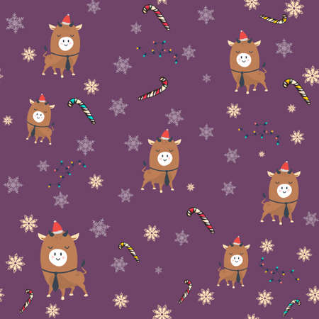 Seamless pattern. Chinese Happy new year. Year of the bull Illusztráció