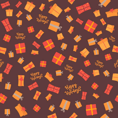 Seamless pattern gift on a dark background. Happy holidays