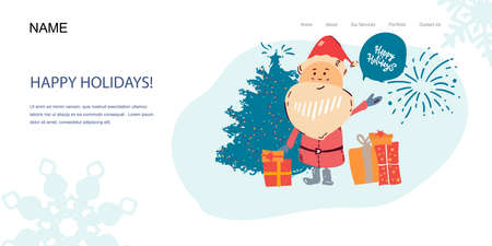 Landing Page, template banner. Santa Claus portrait with fireworks. Happy new year Christmas card, poster. Illusztráció