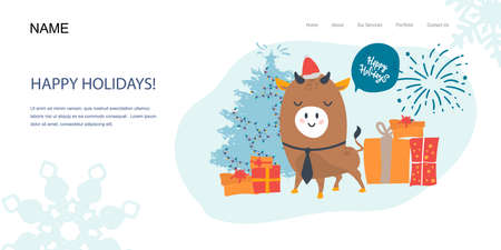 Landing Page, template banner. Funny bull character on a white background with fireworks gifts. Happy new year Christmas card, poster. Illusztráció