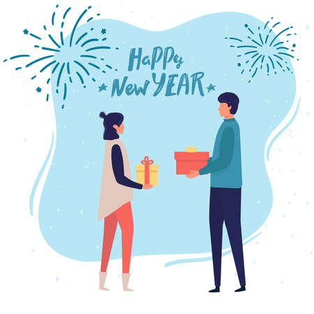 Man gives a woman a gift for Christmas. happy New Year Vector illustration in cartoon style