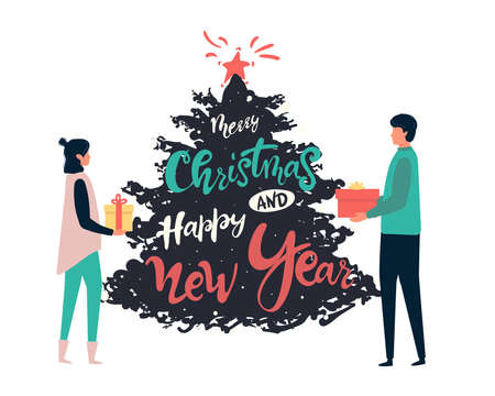 Man gives a woman a gift for Christmas. happy New Year  illustration in cartoon style Illusztráció