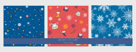set of Seamles pattern with new year celebration Icons and christmas symbols. hand drawing. snowflakes mistletoe . garland, sock, letter to Santa Claus Illusztráció