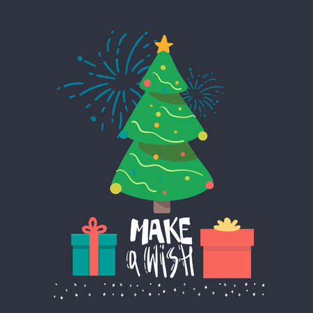 Vector Christmas tree with gifts and lettering on a blue background. Design elements for holiday cards. Make a wish