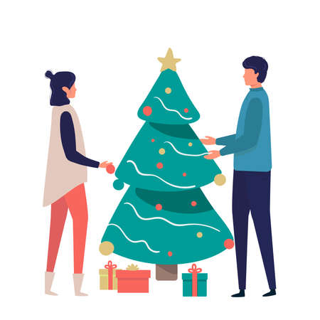 couple celebrate Christmas and new year holidays together and decorate the Christmas tree with balls. Winter family holidays concept. Flat vector illustration