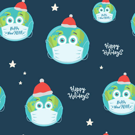seamless pattern Planet Earth in medical mask on blue. Happy holidays, lettering. Pandemic Christmas concept. Vector illustration.