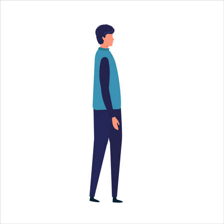 Side View of a Man Walking Forward. Vector illustration. man while walking. Vector illustration in flat style.
