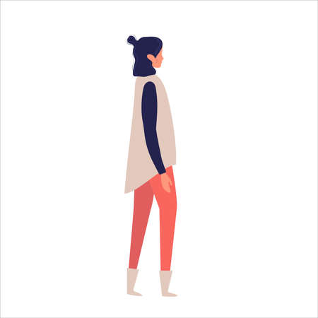 Side View of a woman Walking Forward. Vector illustration. woman while walking. Vector illustration in flat style.