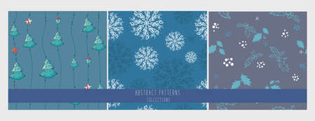 set of Seamless patterns with new year celebration Icons and christmas symbols. hand drawing. snowflakes mistletoe , tree