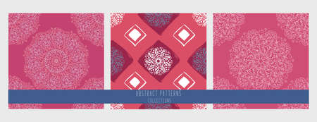 Set of seamless patterns. Mandala circle. Round ornament on white background. vector illustration. Simple floral mandala print. Abstract flower medallion Illusztráció