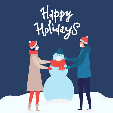 man and woman in Medical mask for prevent virus Covid-19 making snowman on snow landscape background. Modern people holiday design for xmas season. Merry Christmas happy new year winter illustration Illusztráció
