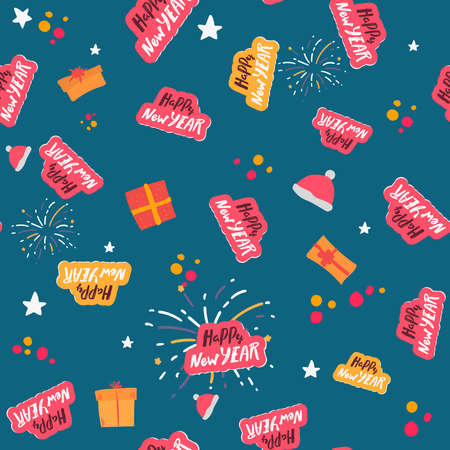 Happy New Year semless pattern. lettering typographic text on blue background. Vector, for winter holidays. Textured background for poster, card textile, wallpaper template