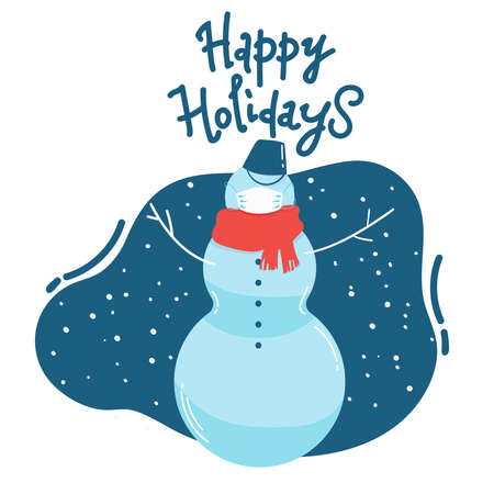 Merry Christmas and happy new year. Snowman with surgical medical mask. Corona virus protection. New normal concept. -Vector.
