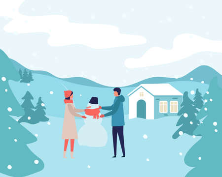 family with man and woman making snowman on snow landscape background. Modern people holiday design for xmas season. Merry Christmas happy new year winter illustration Illusztráció