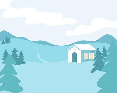 Holiday winter landscape background with winter tree. Vector
