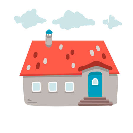 Hand drawn house. Vector sketch illustration. isolated on white Illusztráció