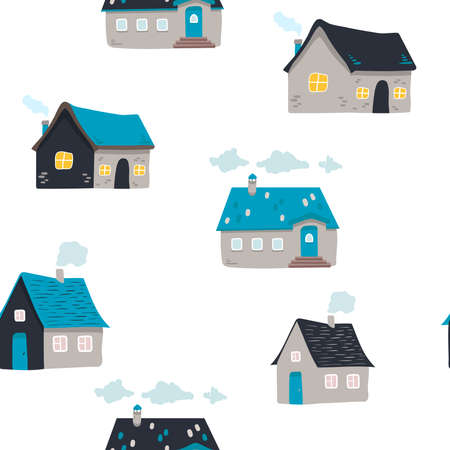 hand drawn doodle house background. Vector seamless pattern. cute houses on white. illustration. Textured background for poster, card textile, wallpaper template Illusztráció