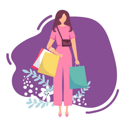 Young attractive fashionable woman holding packages . Isolated concept girl character with flat style. Vector illustration.