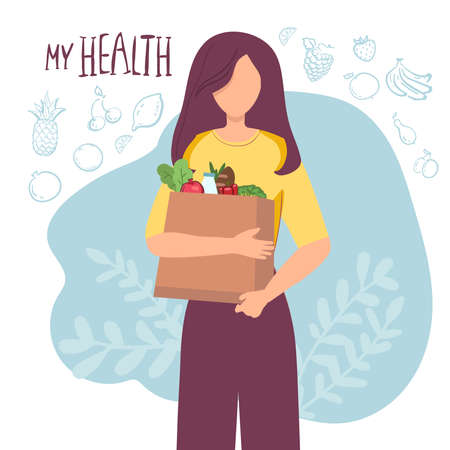 Young attractive fashionable woman holding packages with foods. Isolated concept girl character with flat style. Vector illustration, concept healthy food, vegetables fruits, for healthy lifestyle