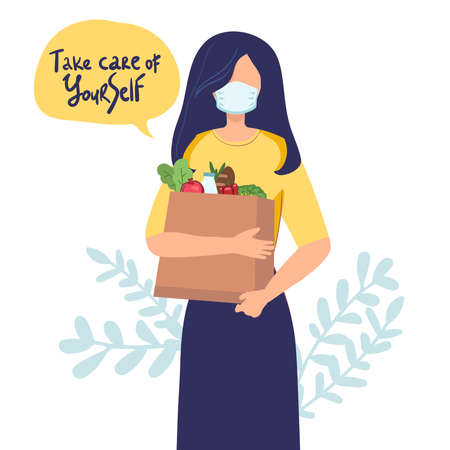 Young attractive fashionable woman in Medical mask for prevent virus Covid-19 holding packages with foods. Isolated concept girl character with flat style. Vector illustration. Illusztráció