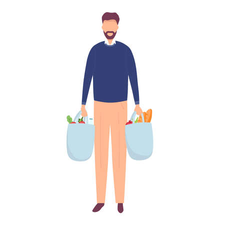 Young attractive fashionable man with beard holding packages with foods. Isolated concept man character with flat style. Vector illustration
