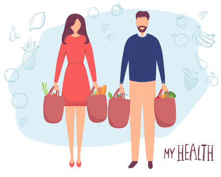 Young attractive fashionable man woman holding packages with foods. Isolated concept girl character with flat style. Vector illustration, concept healthy food, vegetables fruits, for healthy lifestyle
