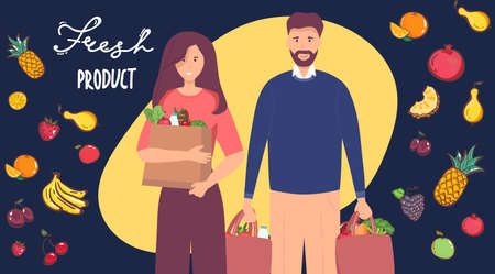 Young young family, man woman, holding packages with foods. concept character with flat style. Vector illustration, concept healthy food, vegetables fruits, for healthy lifestyle