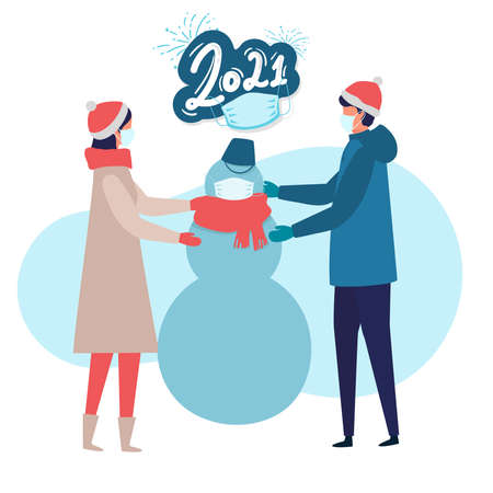 man and woman in Medical mask for prevent virus Covid-19 making snowman on white background. Modern people holiday design for xmas season. Merry Christmas happy new year winter illustration Illusztráció
