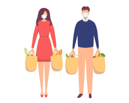 Young attractive fashionable woman and man in Medical mask for prevent virus Covid-19 holding packages with foods. Isolated concept boy girl character with flat style. Vector illustration.