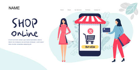 Landing page, Online shopping concept banner with characters. Can use for web banner, infographics, hero images. Flat vector illustration isolated on white background.